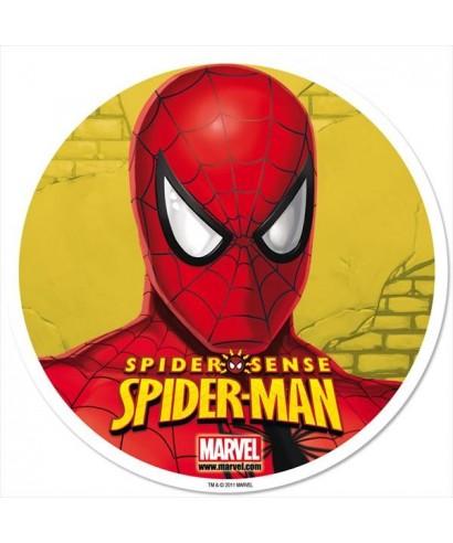 Disque en azyme t te de spiderman sur fond jaune marvel - Tete de spiderman a imprimer ...