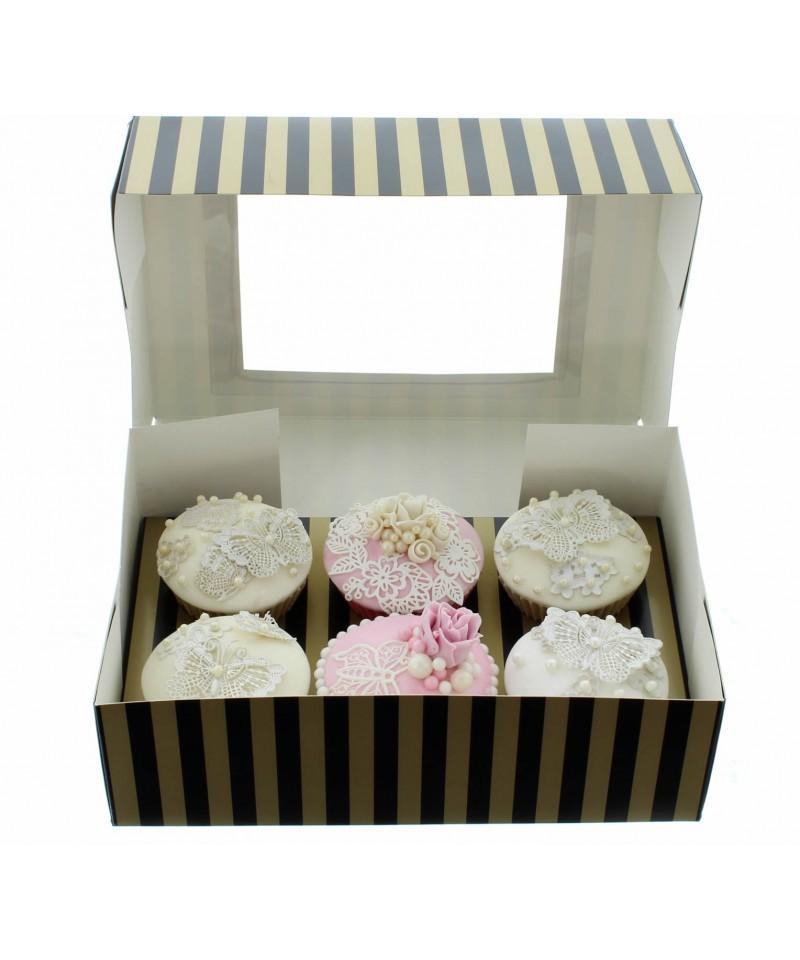 bo te chic pour 6 cupcakes or et noir. Black Bedroom Furniture Sets. Home Design Ideas