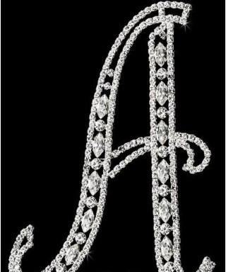 Lettre A en Diamant et Cristal pour gâteaux
