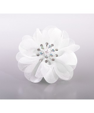 Fleur dentelle et tissu orné de perle et de strass set/3