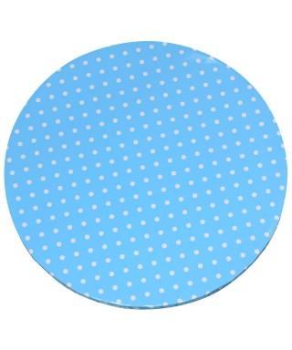 Plateau de présentation rond épais bleu à pois blanc Ø 35 cm