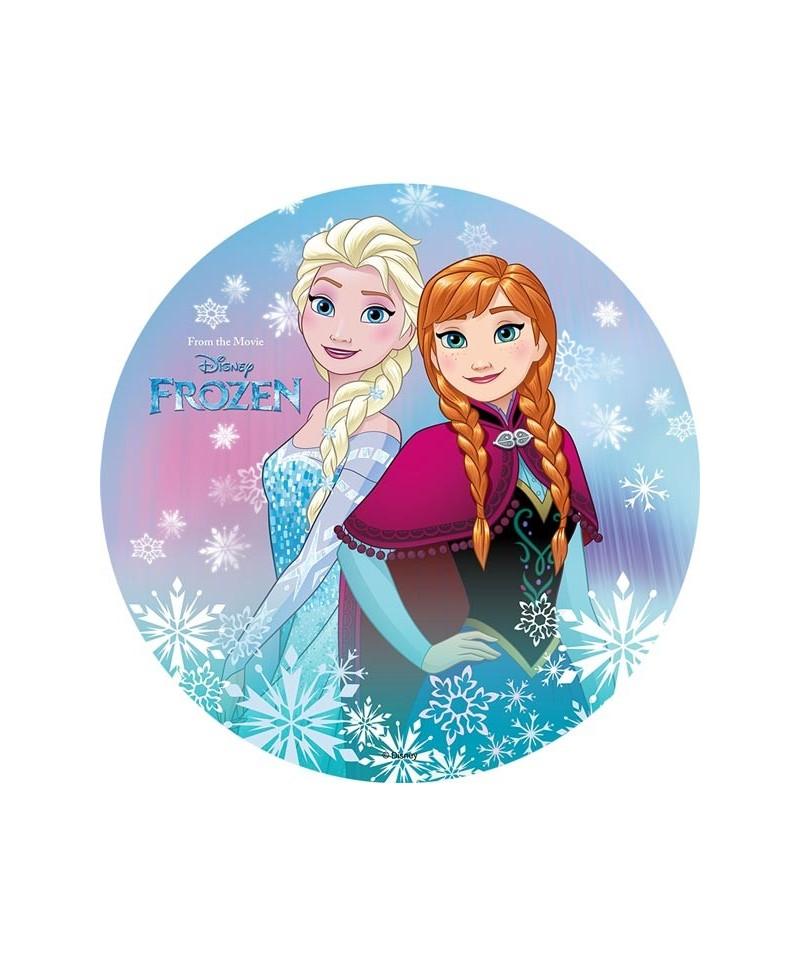 Disque azyme elsa et anna entour es de flocons la reine des neiges - La reine elsa ...