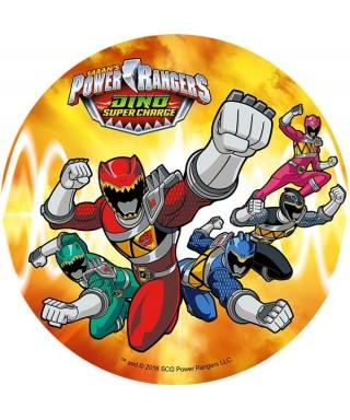 Disque en pâte à sucre Power Rangers Rouge, vert, bleu, noir et rose