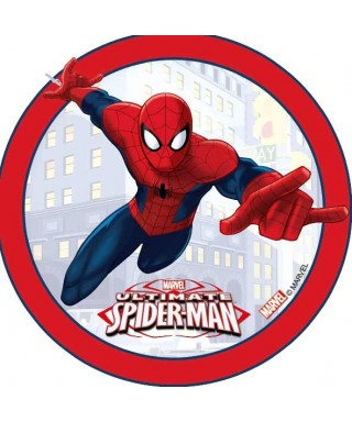 Disque azyme Spiderman fond Immeubles Marvel