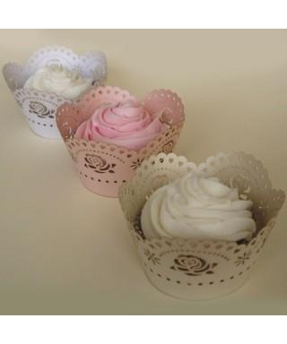 Caissette wrap cupcake Rose dentelée PME