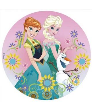 Disque pâte à sucre La Reine des Neiges Elsa, Olaf et Anna au printemps