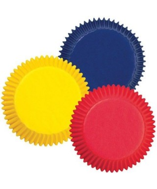 Caissettes à cupcakes Rouge, Jaune et Bleue pk/75 Wilton
