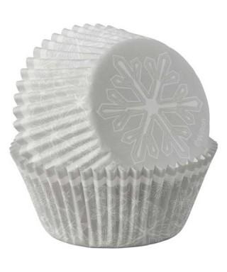 Caissettes à cupcakes Flocon de neige de noël pk/75 Wilton