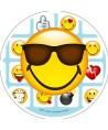 Disque pâte à sucre emoji lunette de soleil