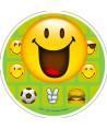 Disque pâte à sucre emoji heureux