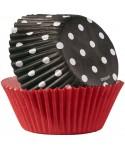 Caissette cupcake Noir et Rouge à pois pk/75 Wilton