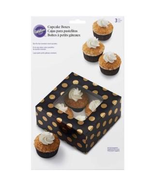 Boîte noir à poids or pour 4 Cupcake Wilton pk/3