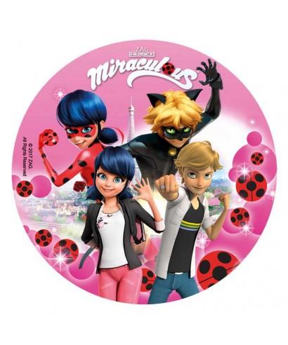 Disque Azyme Miraculous Ladybug Et Chat Noir En Rose