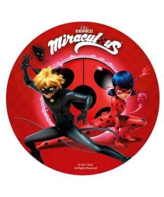 Disque azyme Miraculous, Ladybug et Chat Noir en rouge