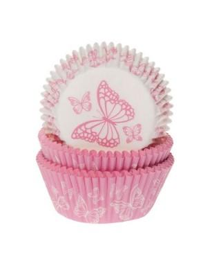 Caissette cupcake Papillon Rose pk/50 House of Marie