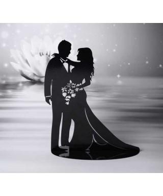 Cake Topper métal mariés romantique