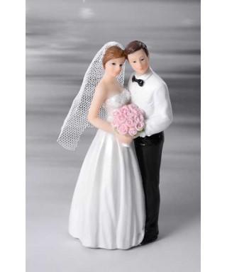 Sujet de mariage mariés avec voile 12cm