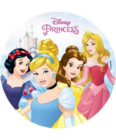 Disque pâte à sucre Cendrillon, Belle, Aurore et Blanche Neige Disney
