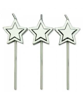 Bougie étoile Argent Set/8 PME