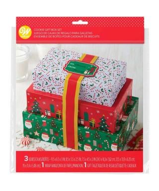 Boîte à Gâteau de Noël avec Rubans Set/3 Wilton