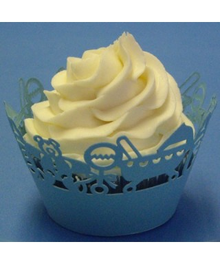 Caissette cupcake bleue bébé dentelée wrap PME