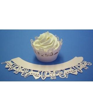 Caissette cupcake Rose bébé dentelée wrap PME