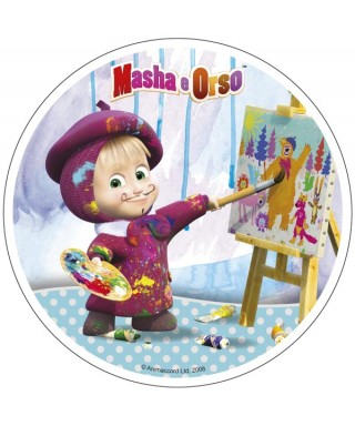 Disque azyme Masha l'ourson artiste peintre
