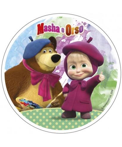 Disque sucre Masha l'ourson et sa palette de peinture