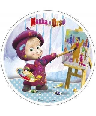 Disque sucre Masha l'ourson artiste peintre