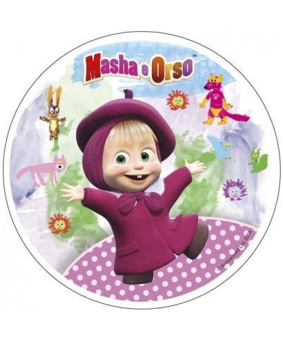 Disque sucre Masha l'ourson et ses dessins