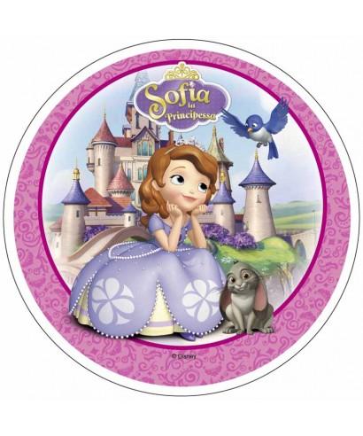 Disque azyme Princesse Sofia devant son château Disney