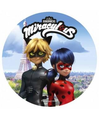 Disque azyme Chat et Miraculous Ladybug et la tour Eiffel