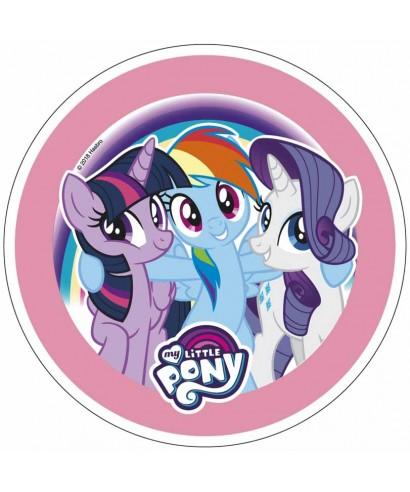 Disque pâte à sucre Twilight Sparkle, Rainbow Dash et Rarity My little Pony