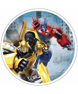 Disque pâte à sucre Optimus Prime et Bumblebee Transfomers