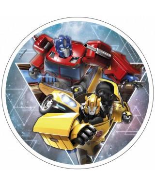 Disque pâte à sucre Bumblebee et Optimus Prime Transfomers