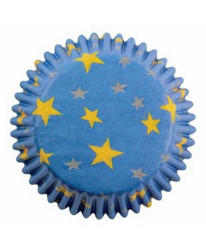 Caissette cupcake Bleu à étoiles dorée pk/60 Pme