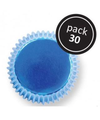 Caissette cupcake Bleu métallique pk/30 Pme