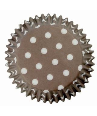 Caissette cupcake Marron à pois blancs pk/60 Pme