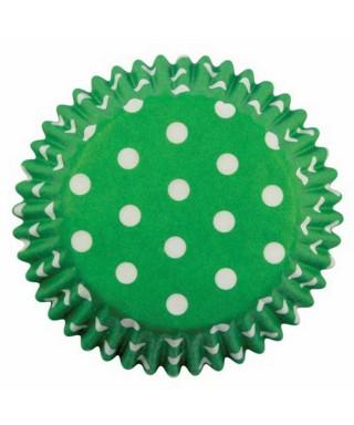 Caissette cupcake Vert à pois blancs pk/60 Pme
