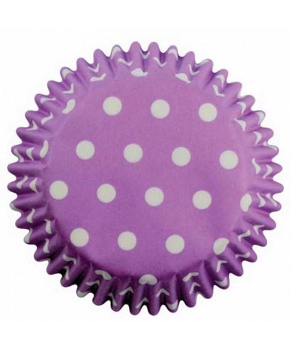 Caissette cupcake lavande à pois blancs pk/60 Pme