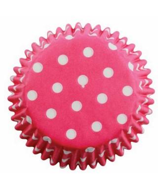 Caissette cupcake Rose à pois blancs pk/60 Pme