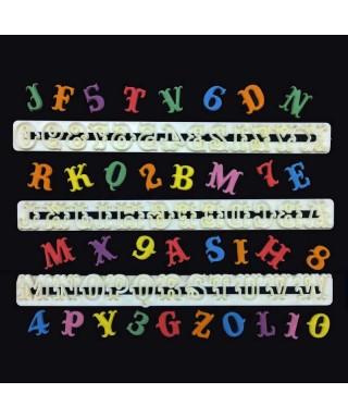 Emporte-pièces Carnaval Alphabet et Chiffres FMM Sugarcraft