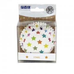 Caissette cupcake Blanche à Étoiles multicolores PME