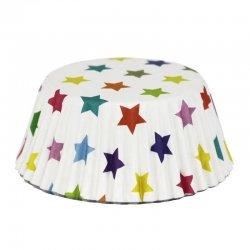 Caissette cupcake Blanche à Étoiles multicolores pk/30 PME