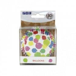 Caissette cupcake Blanche à Ballons multicolores PME