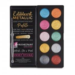 Palette de peinture de couleurs pastel métalliques comestibles de Sweet Sticks