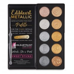 Palette de peinture de couleurs métalliques comestibles de Sweet Sticks