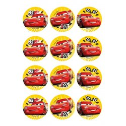 Mini disques à cupcake de Flash Mc Queen Cars Disney Pixar