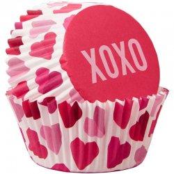 Caissettes Saint-Valentin XOXO et coeur pk/75 Wilton