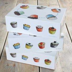 Boîte à Cupcakes 6 Cupcakes 24x16x8cm avec insert pk/3 FunCakes